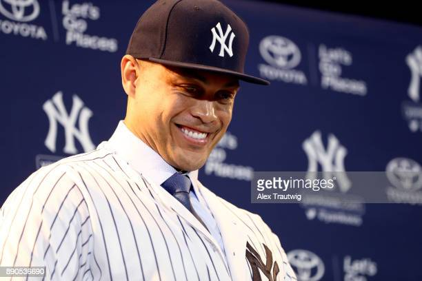 Giancarlo Stanton is introduced as a member of the New York Yankees during the 2017 Winter Meetings at the Walt Disney World Swan and Dolphin Resort...