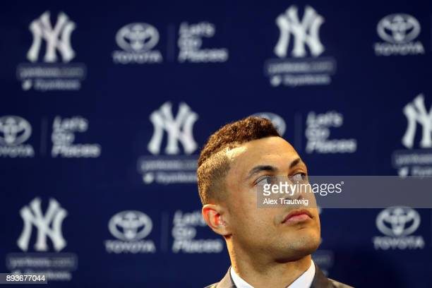 Giancarlo Stanton is introduced as a member of the New York Yankees during the 2017 Winter Meetings at the Walt Disney World Swan and Dolphin on...