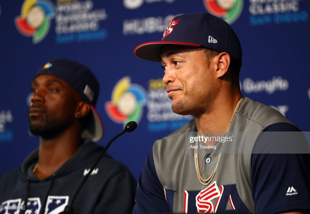 Giancarlo Stanton #27 of Team USA is seen during the postgame press conference after of Game 6 of Pool F of the 2017 World Baseball Classic against Team Dominican Republic on Saturday, March 18, 2017 at Petco Park in San Diego, California. Team USA defeated Team Dominican Republic 6-3 to advance to the final round.