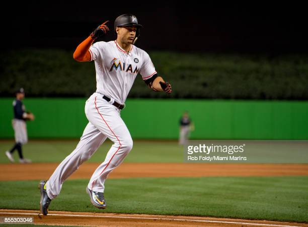 Giancarlo Stanton of the Miami Marlins after hitting home run during the game against the Atlanta Braves at Marlins Park on September 28 2017 in...