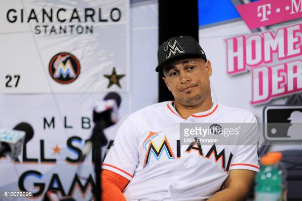 Giancarlo Stanton of the Miami Marlins and the National League speaks with the media during Gatorade AllStar Workout Day ahead of the 88th MLB...
