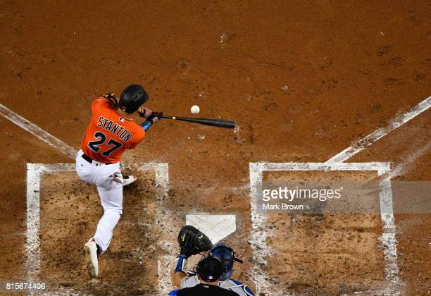 Giancarlo Stanton of the Miami Marlins attempts a hit during the game between the Miami Marlins and the Los Angeles Dodgers at Marlins Park on July...