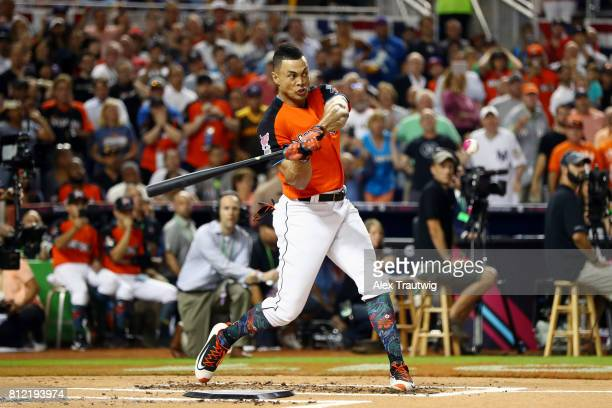 Giancarlo Stanton of the Miami Marlins bats during the 2017 TMobile Home Run Derby at Marlins Park on Monday July 10 2017 in Miami Florida