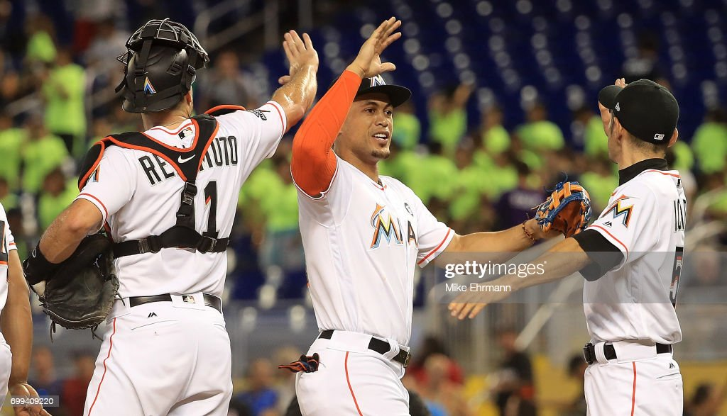 Giancarlo Stanton #27 of the Miami Marlins celebrates winning a game against the Washington Nationals at Marlins Park on June 21, 2017 in Miami, Florida.