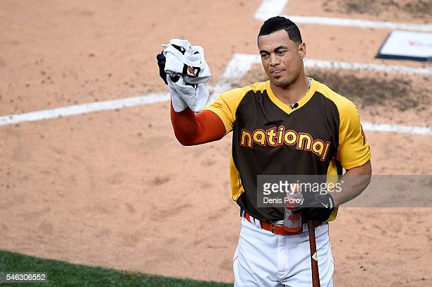 Giancarlo Stanton of the Miami Marlins competes during the T-Mobile Home Run Derby at PETCO Park on July 11, 2016 in San Diego, California.