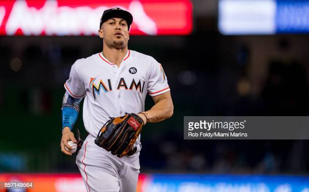 Giancarlo Stanton of the Miami Marlins during the game against the Atlanta Braves at Marlins Park on October 1 2017 in Miami Florida