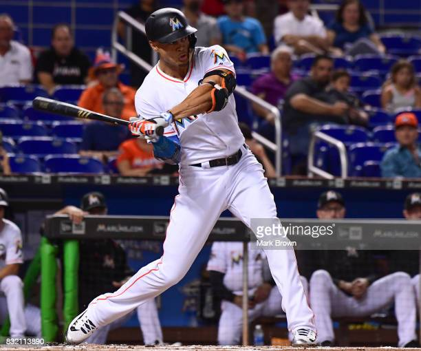 Giancarlo Stanton of the Miami Marlins during the game between the Miami Marlins and the San Francisco Giants at Marlins Park on August 15 2017 in...