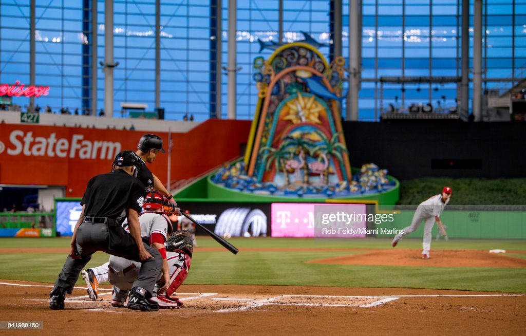 Giancarlo Stanton #27 of the Miami Marlins hits a home run during the first inning of the game against the Philadelphia Phillies at Marlins Park on September 2, 2017 in Miami, Florida.