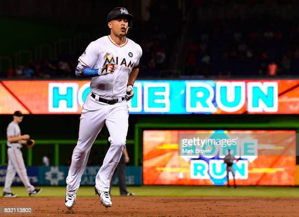 Giancarlo Stanton of the Miami Marlins hits a homerun in the third inning during the game between the Miami Marlins and the San Francisco Giants at...