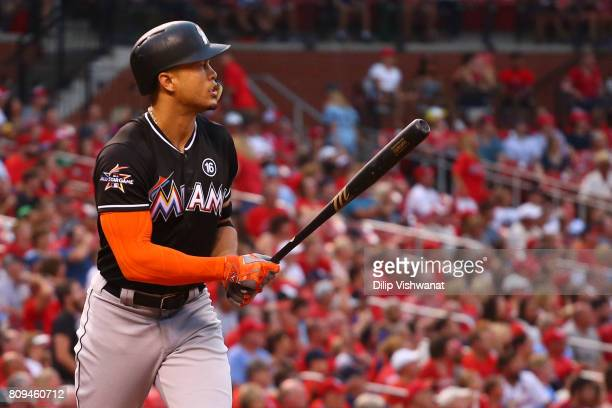 Giancarlo Stanton of the Miami Marlins hits a threerun home run against the St Louis Cardinals in the second inning at Busch Stadium on July 5 2017...