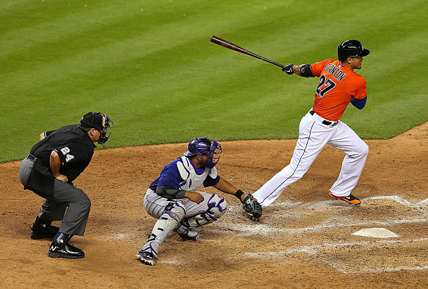 Giancarlo Stanton #27 of the Miami Marlins