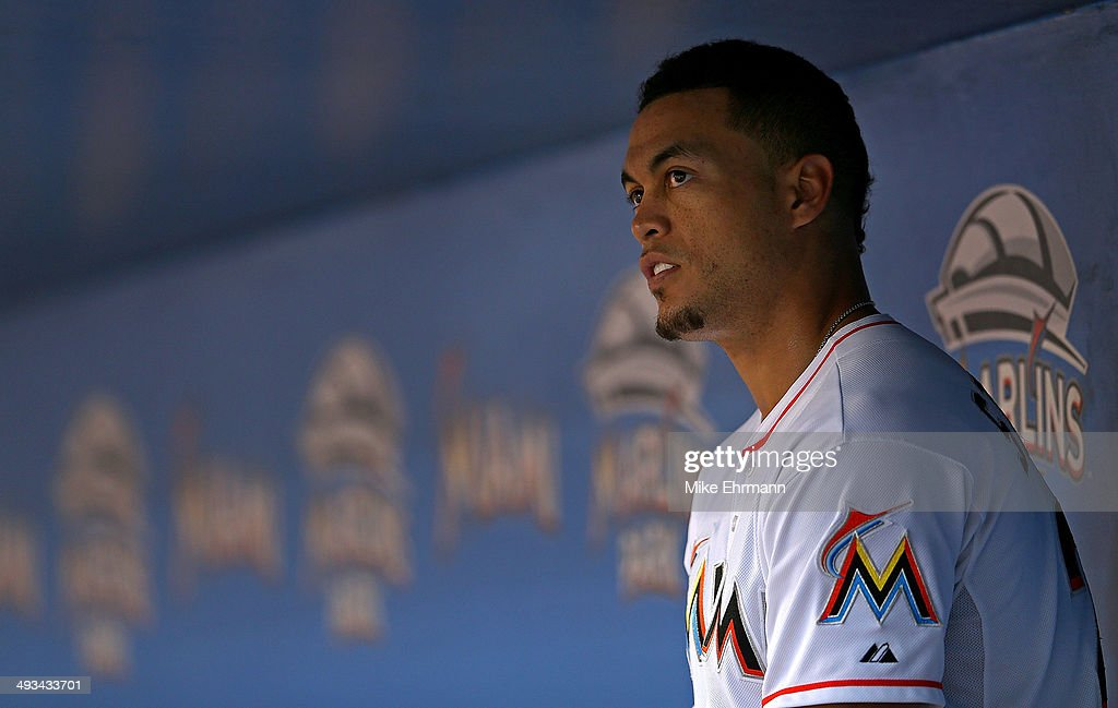 Giancarlo Stanton #27 of the Miami Marlins looks on during a game against the Milwaukee Brewers at Marlins Park on May 23, 2014 in Miami, Florida.