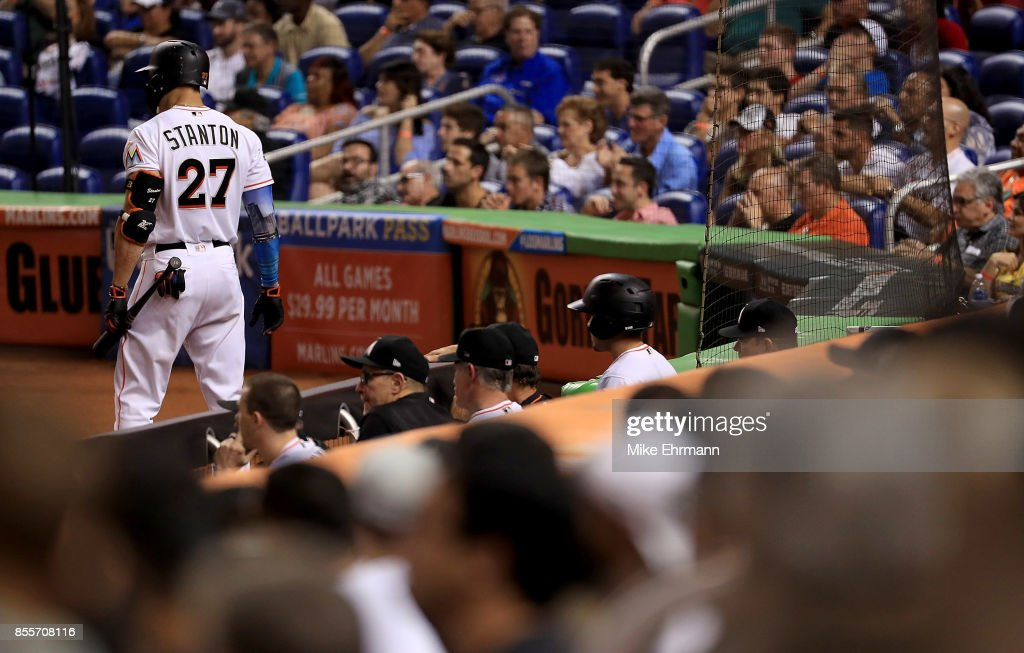 Giancarlo Stanton #27 of the Miami Marlins looks on during a game against the Atlanta Braves at Marlins Park on September 29, 2017 in Miami, Florida.