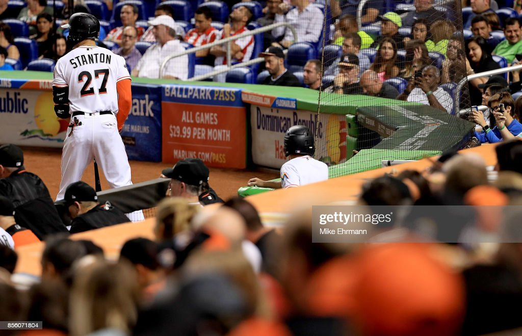 Giancarlo Stanton #27 of the Miami Marlins looks on during a game against the Atlanta Braves at Marlins Park on September 30, 2017 in Miami, Florida.