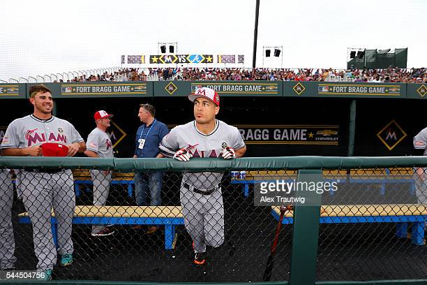 Giancarlo Stanton of the Miami Marlins looks on prior to the game against the the Atlanta Braves at Fort Bragg Stadium on Sunday July 3 2016 in Fort...