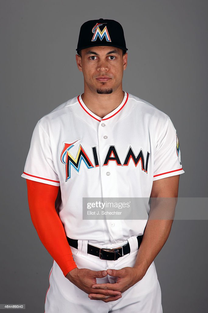 Giancarlo Stanton #27 of the Miami Marlins poses during Photo Day on Wednesday, February 25, 2015 at Roger Dean Stadium in Jupiter, Florida.