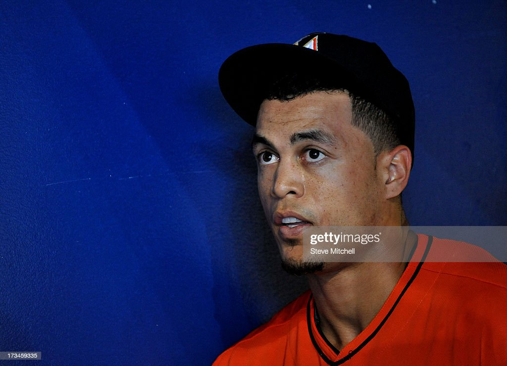Giancarlo Stanton #27 of the Miami Marlins prior to a game against the Washington Nationals at Marlins Park on July 14, 2013 in Miami, Florida.