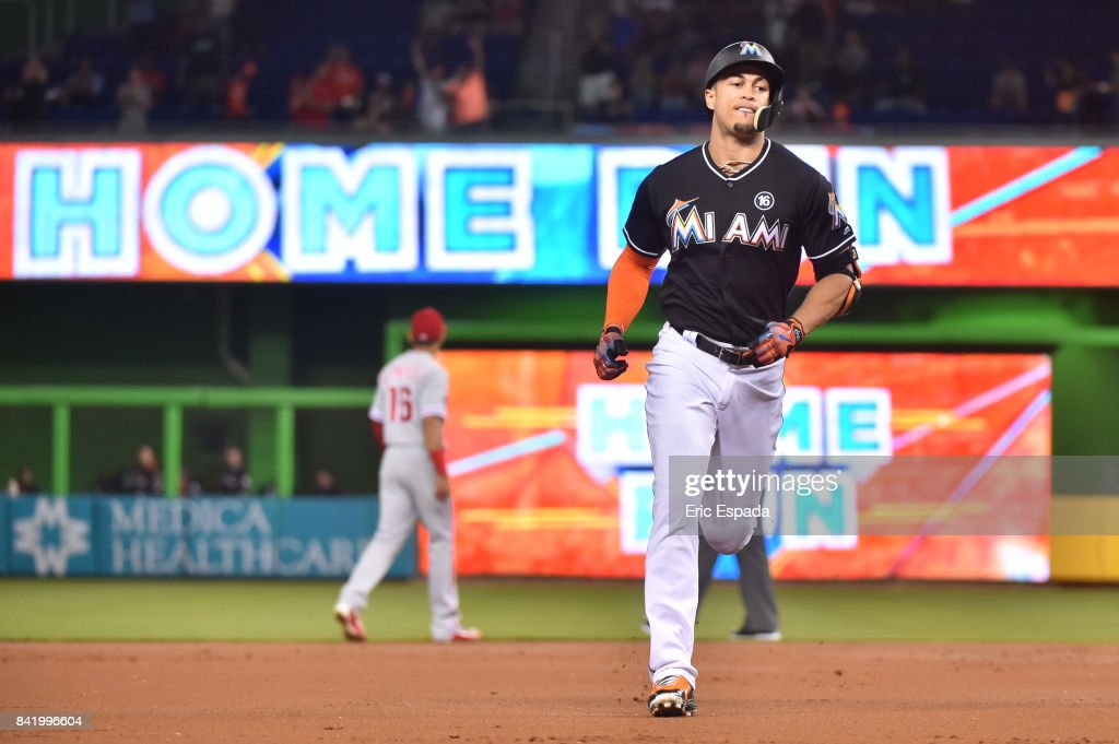 Giancarlo Stanton #27 of the Miami Marlins rounds second base after hitting his 52nd home run of the season during the first season against the Philadelphia Phillies at Marlins Park on September 2, 2017 in Miami, Florida.