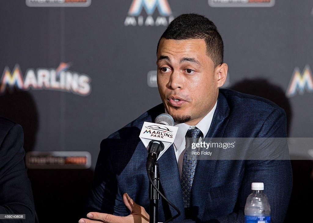 Giancarlo Stanton of the Miami Marlins speaks during a press conference at Marlins Park on November 19, 2014 in Miami, Florida.