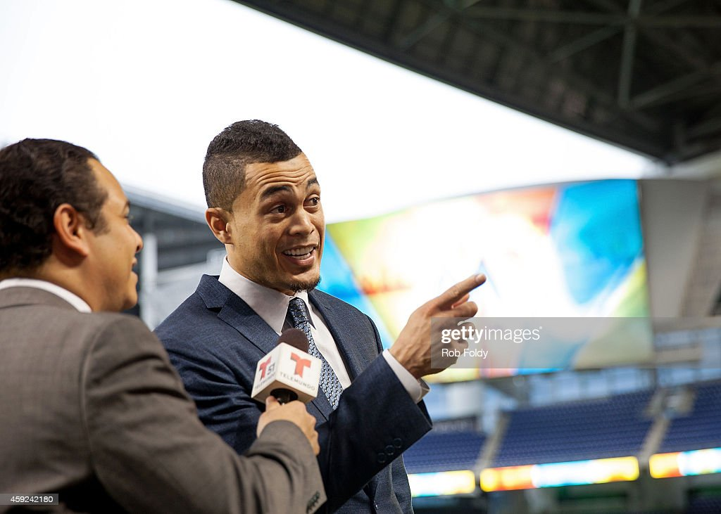 Giancarlo Stanton of the Miami Marlins speaks to the media after a press conference at Marlins Park on November 19, 2014 in Miami, Florida.