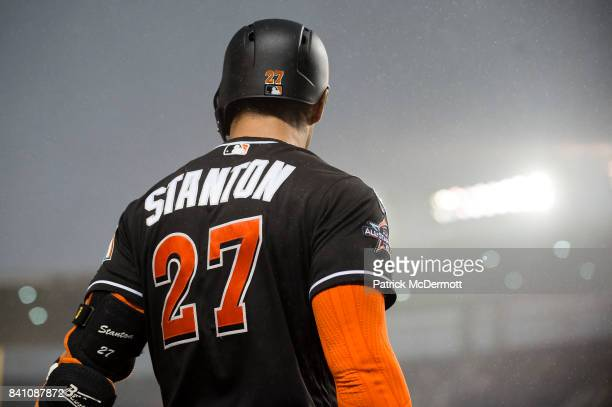 Giancarlo Stanton of the Miami Marlins stands on deck in the first inning against the Washington Nationals at Nationals Park on August 29 2017 in...