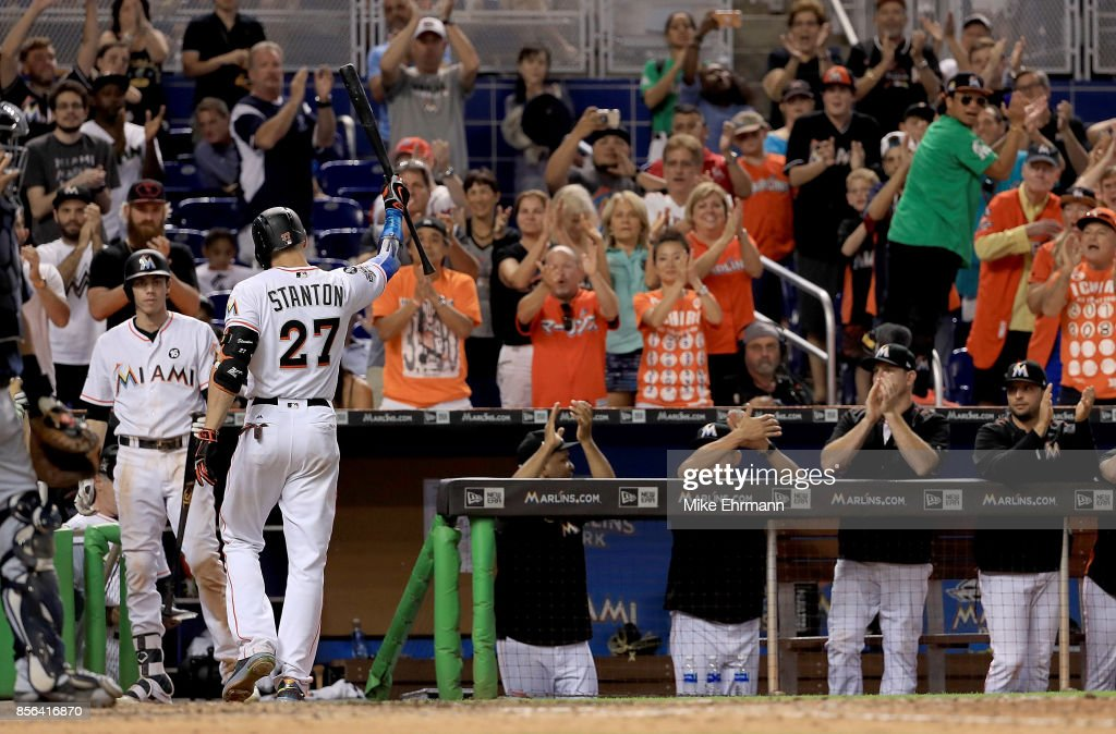 Giancarlo Stanton #27 of the Miami Marlins takes a curtain call during a game against the Atlanta Braves at Marlins Park on October 1, 2017 in Miami, Florida.