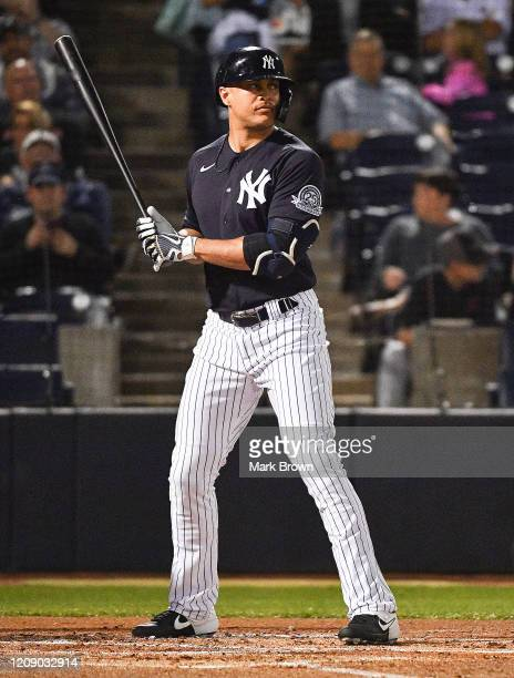 Giancarlo Stanton of the New York Yankees at bat in the first inning during the spring training game against the Pittsburgh Pirates at Steinbrenner...
