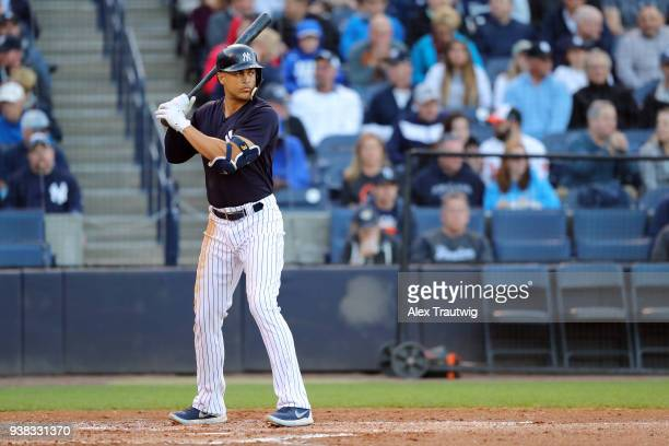 Giancarlo Stanton of the New York Yankees bats during a game against the Baltimore Orioles on Wednesday March 21 2018 at George M Steinbrenner Field...