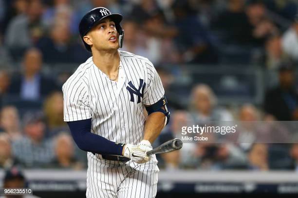 Giancarlo Stanton of the New York Yankees connects on his second home run of the game in the bottom of the fourth inning against the Boston Red Sox...