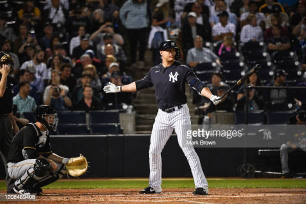 Giancarlo Stanton of the New York Yankees gets ready to bat in the first inning during the spring training game against the Pittsburgh Pirates at...