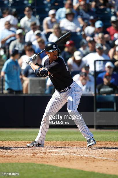 Giancarlo Stanton of the New York Yankees in action during a spring training game against the Tampa Bay Rays at George M Steinbrenner Field on March...