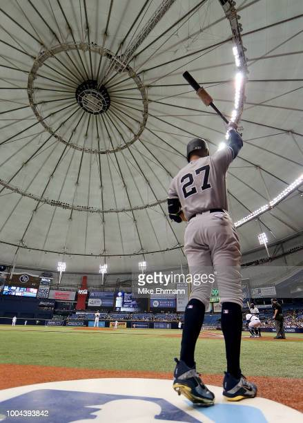 Giancarlo Stanton of the New York Yankees looks on in the first inning during a game against the Tampa Bay Rays at Tropicana Field on July 24 2018 in...