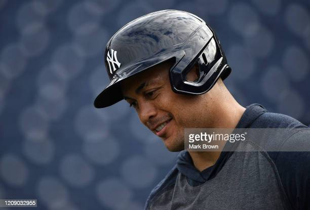 Giancarlo Stanton of the New York Yankees looks ons during batting practice before the spring training game against the Pittsburgh Pirates at...