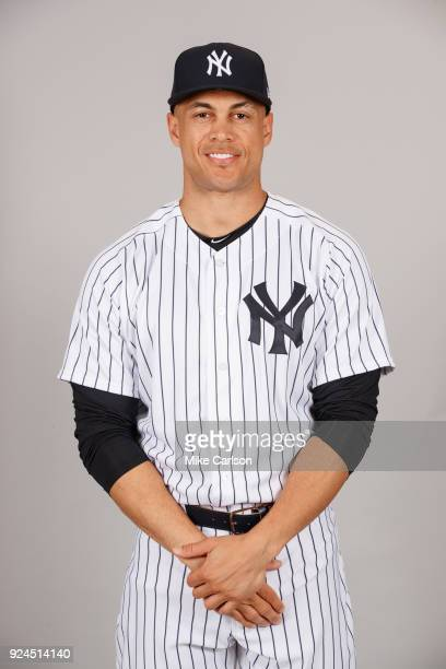 Giancarlo Stanton of the New York Yankees poses during Photo Day on Wednesday February 21 2018 at George M Steinbrenner Field in Tampa Florida