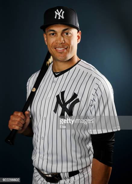Giancarlo Stanton of the New York Yankees poses for a portrait during the New York Yankees photo day on February 21 2018 at George M Steinbrenner...