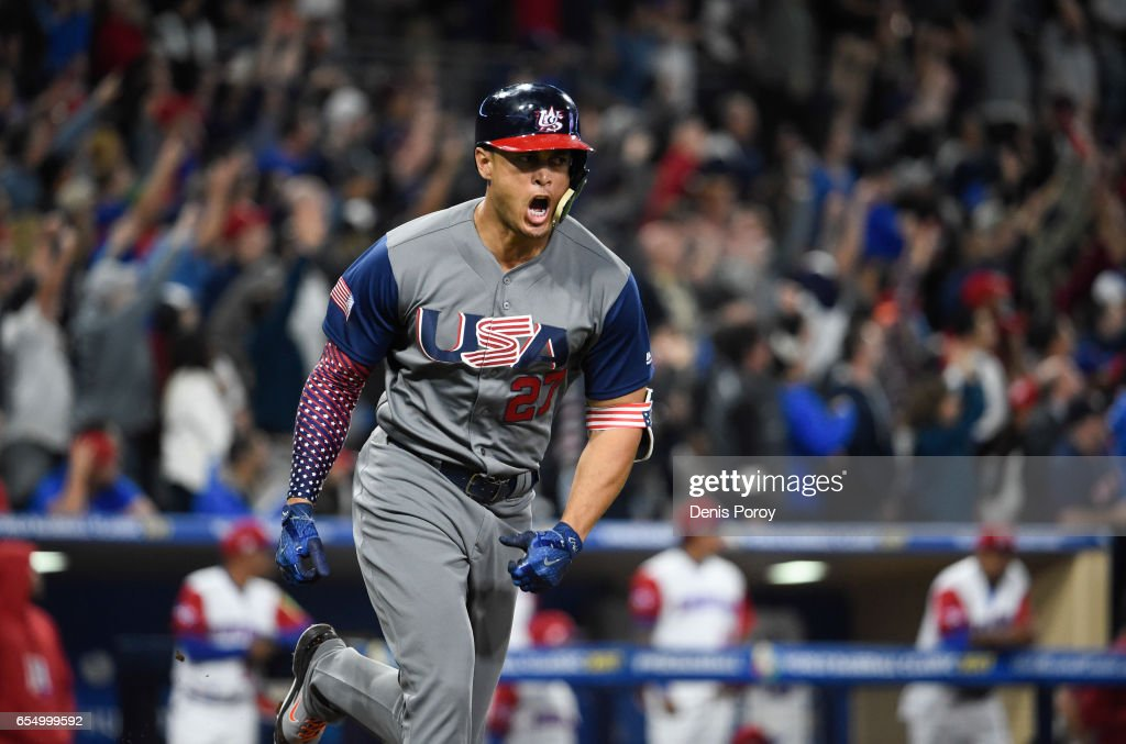 Giancarlo Stanton #27 of the United States reacts after hitting a two run home run during the fourth inning of the World Baseball Classic Pool F Game Six between the United States and the Dominican Republic at PETCO Park on March 18, 2017 in San Diego, California.