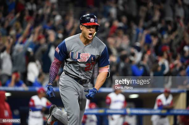 Giancarlo Stanton of the United States reacts after hitting a two run home run during the fourth inning of the World Baseball Classic Pool F Game Six...
