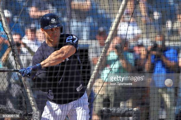 Giancarlo Stanton waits for the pitch in the batting cage during the New York Yankees spring training workout on February 19 at George M Steinbrenner...
