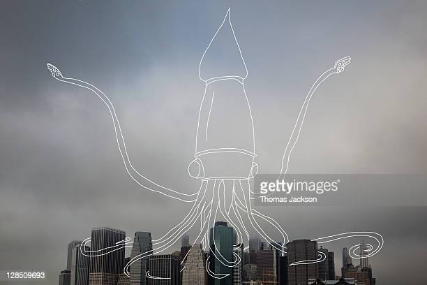 Giand squid attacking city