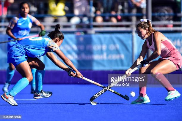 Gianella Palet of Argentina competes for the ball with Lalremsiami of India in the Women's Gold Medal Match during day 8 of the Buenos Aires Youth...