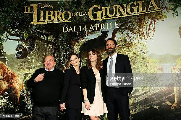 Gianfranco Magalli Giovanna Mezzogiorno Violante Placido and Neri Marcore attend the 'Il Libro Della Giungla' Premiere at Cinema Barberini on April...