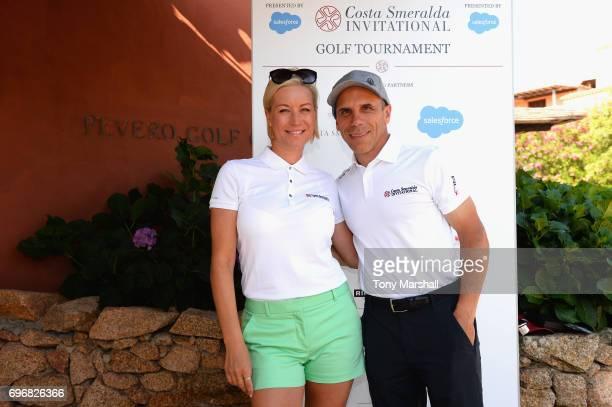 Gianfranco Zola and Denise Van Outen arrive at The Costa Smeralda Invitational golf tournament at Pevero Golf Club Costa Smeralda on June 17 2017 in...