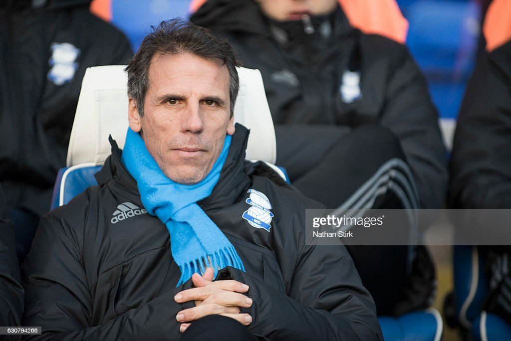 Gianfranco Zola, manager of Birmingham City looks on during the Sky Bet Championship match between Birmingham City and Brentford at St Andrews Stadium on January 2, 2017 in Birmingham, England (Photo by Nathan Stirk/Getty Images).
