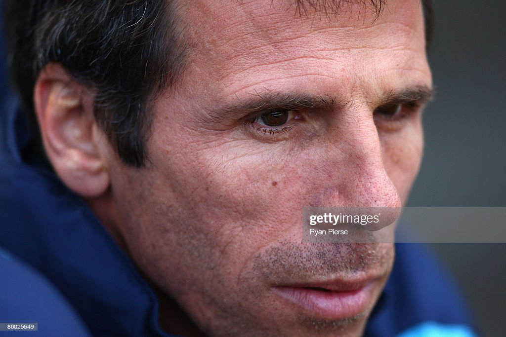 Gianfranco Zola, manager of West Ham, looks on before the Barclays Premier League match between Aston Villa and West Ham United at Villa Park on April 18, 2009 in Birmingham, England.