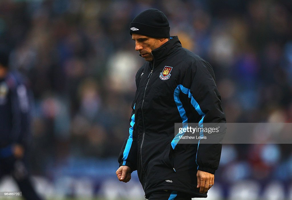 Gianfranco Zola, manager of West Ham United looks dejected during the Barclays Premier League match between Burnley and West Ham United at Turf Moor on February 6, 2010 in Burnley, England.