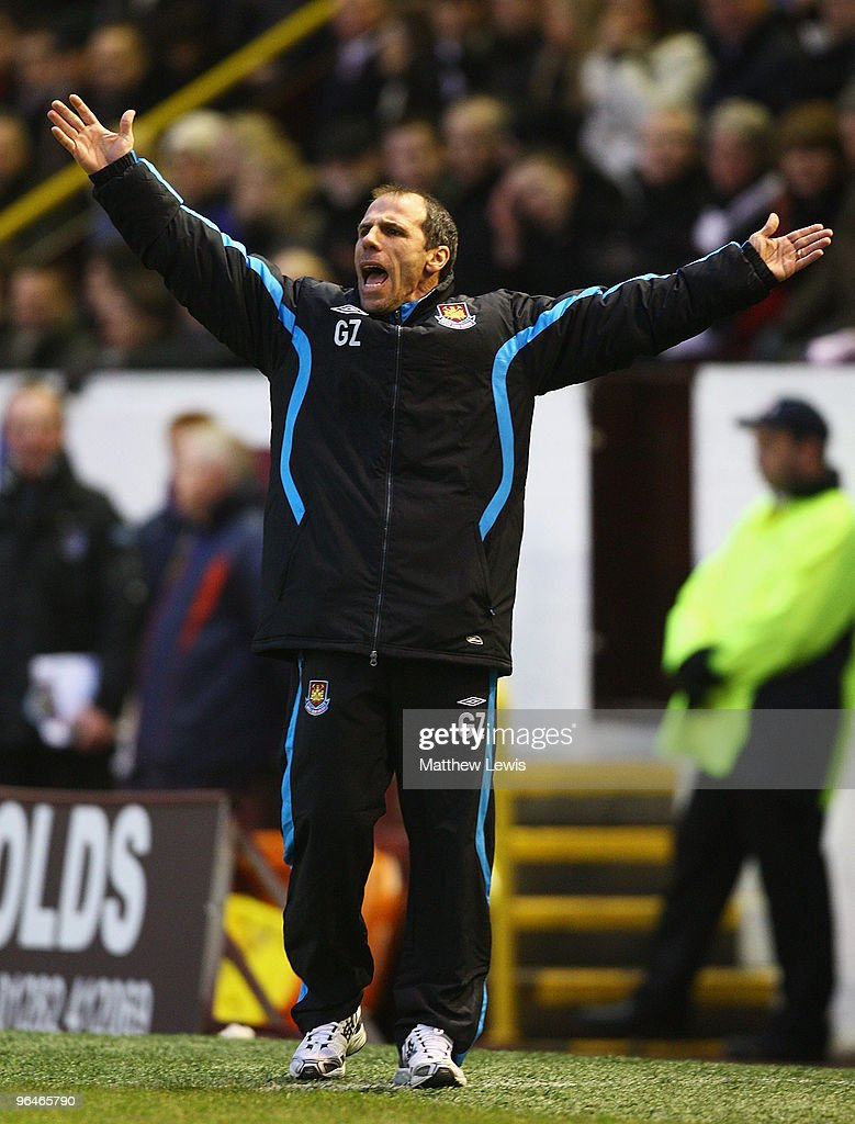 Gianfranco Zola, manager of West Ham United looks on during the Barclays Premier League match between Burnley and West Ham United at Turf Moor on February 6, 2010 in Burnley, England.