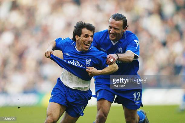Gianfranco Zola of Chelsea celebrates scoring the second goal with teammate Mario Stanic during the FA Barclaycard Premiership match between West...