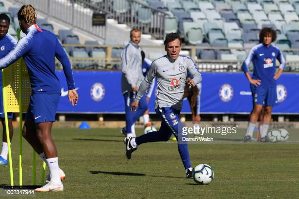 Gianfranco Zola of Chelsea during a training session at the WACA in Perth on July 20 2018 in Perth Australia