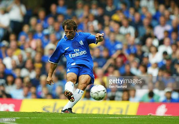 Gianfranco Zola of Chelsea strikes a free kick and the second goal for Chelsea during the FA Barclaycard Premiership match between Chelsea and...