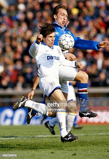 Gianfranco Zola of Parma FC is challenged by David Platt of Sampdoria during a Serie A match on March 12, 1995 in Parma, Italy.
